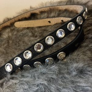 Accessories - Italian Leather Rhinestone Belt